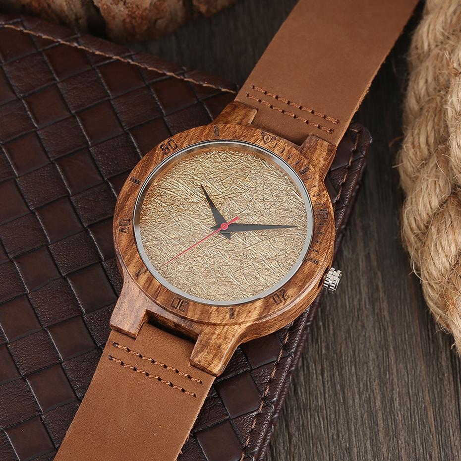 Unique Stripes Lines Dial Wooden Watch Mens Bamboo Creative Quartz Clock Genuine Leather Bangle Reloj de madera 2017 New Fashion  (11)
