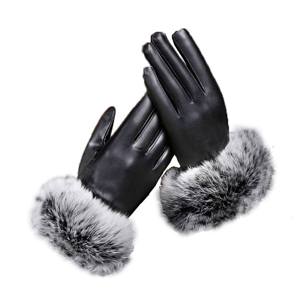 Women Outdoor Gloves PU Leather Plush Windproof Full Finger Touches Screen Mittens Autum ...