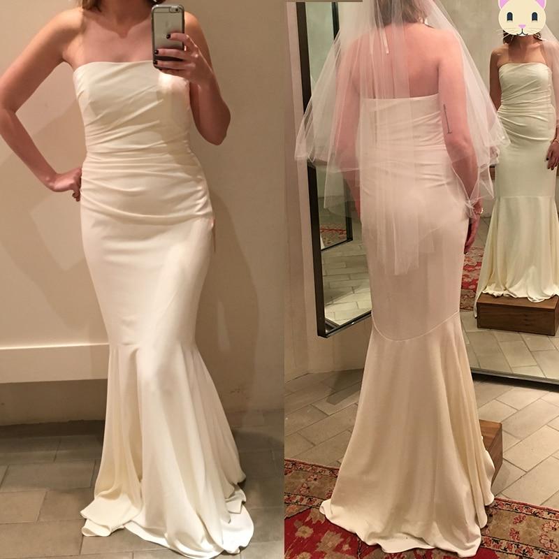 Strapless Mermaid Wedding Gown: Strapless Mermaid Satin Wedding Gowns Solid Simple Floor