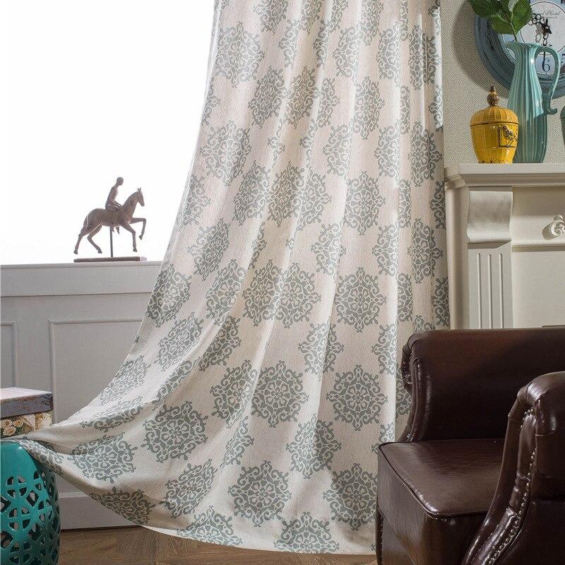rideau de fenetre chinois tangyun imprime cafe bleu gris beige en coton pour salon chambre a coucher cuisine