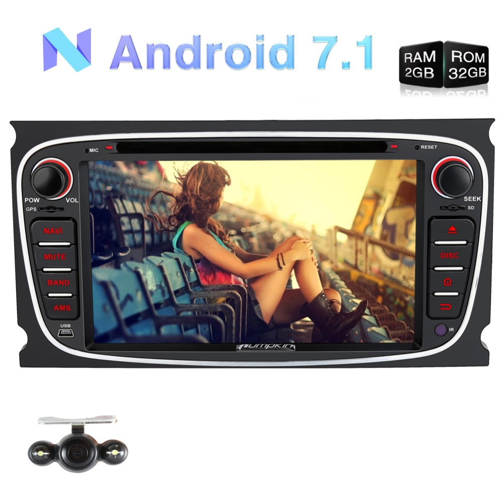Pumpkin 2 Din Android 7.1 Car DVD Player GPS Navigation Quad-core Car Stereo For Ford Mondeo/Focus Wifi Bluetooth FM Rds Radio