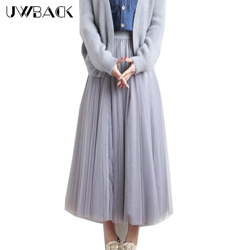 UWBACK 2017 Nová letní tyl sukně ženy vysoký pas kotník délka Jupe 3 vrstvy síťovina skládaná Tutu Faldas sukně ženy CBB032