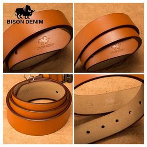 Image 4 - BISON DENIM Brand Belt For Men Cowskin Genuine Lether Pin Buckle High Quality Male Strap Vintage Jeans N71223