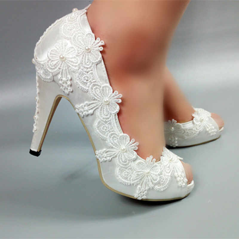Белые свадебные туфли невесты с открытым носком Женское вечернее платье  обувь открытый носок обувь на платформе d1476736384ab