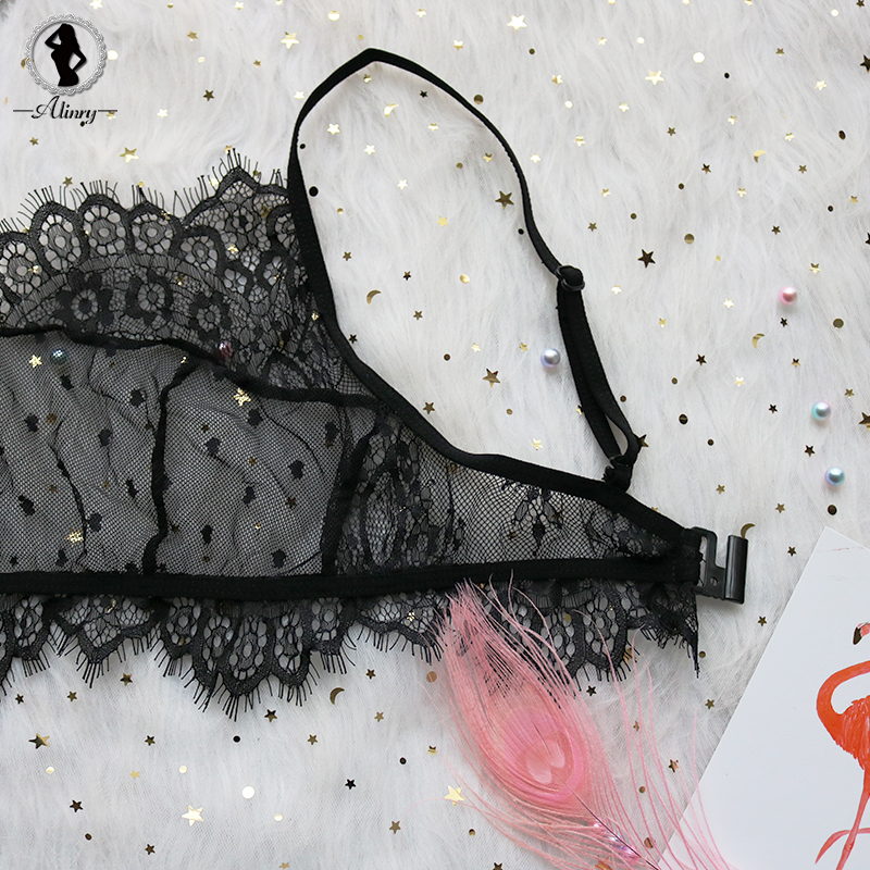 HTB1yRmpfOCYBuNkHFCcq6AHtVXan - Lace Mesh Bra & Pantie Set Transparent Bralette Push Up