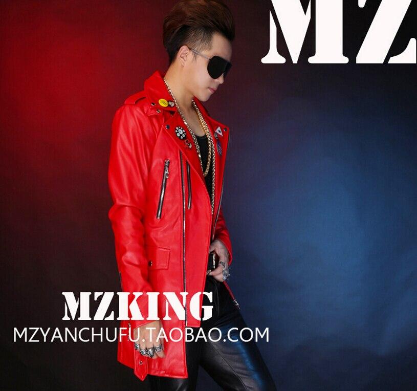 S-5XL! Hommes nouvelle mode DJ rouge longue Locomotive en cuir veste manteau chanteur costumes robe formelle grande taille vêtements - 5
