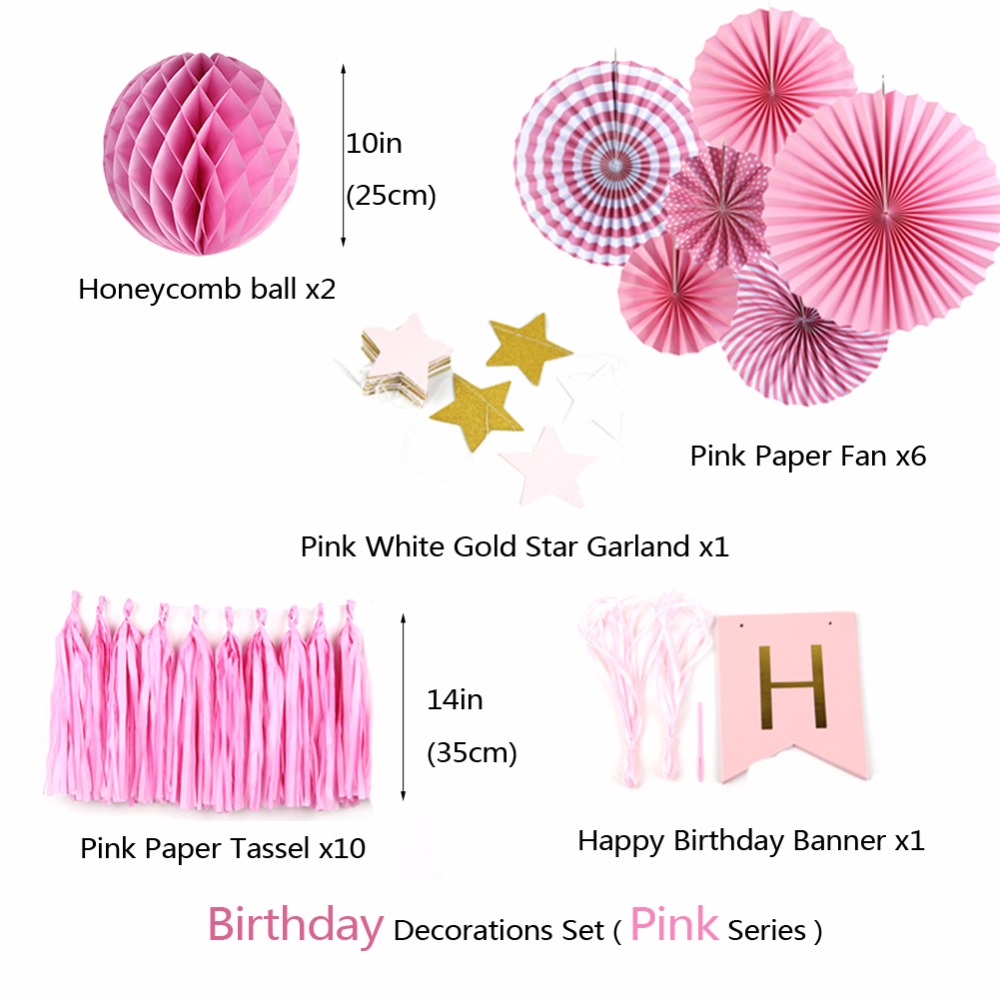 Sunbeauty A Set Pink Theme Happy Birthday Decoration DIY Kids Party Favor Princess Decorations In From Home