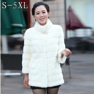 2018 Women's winter warm fur coat mandarin collar coat long paragraph 7 points sleeve rabbit fur coat long coat free shipping