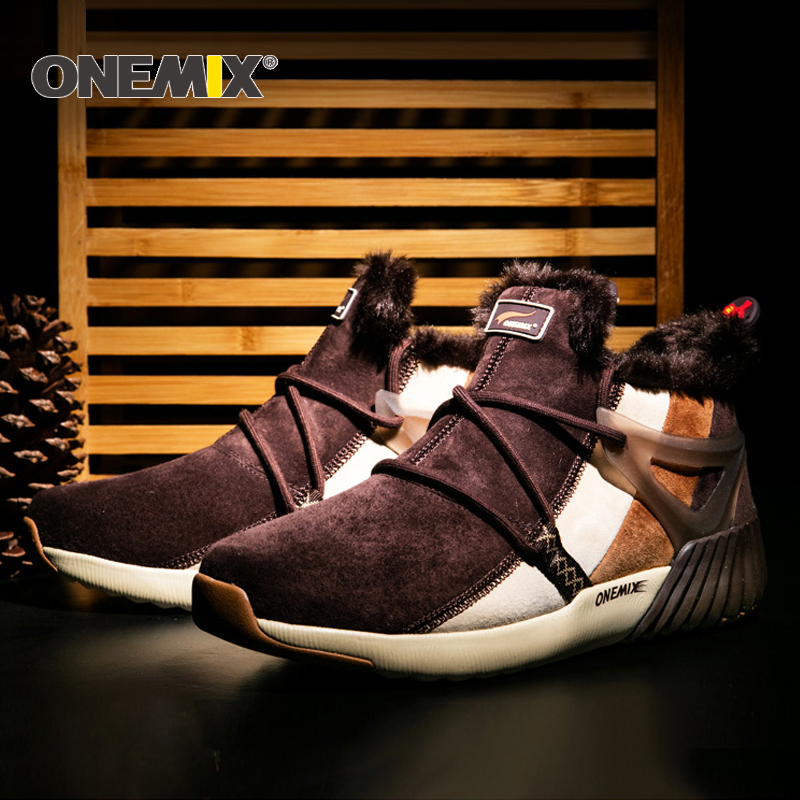 ONEMIX New Winter Running Shoes Comfortable Men's Boots Women's boots Warm Wool Sneakers Outdoor Uni Athletic Sport Shoes