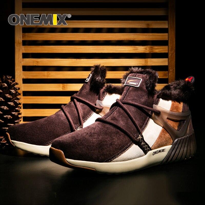 ONEMIX Nouvelle Hiver Chaussures de Course Confortable Hommes de Bottes Femmes bottes de Laine Chaude Sneakers En Plein Air Unisexe Athletic Sport Chaussures