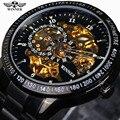 Ganador Clásico Retro Caja de Oro de Escala Pequeña Dial Diseño Automático del Mens Relojes de Primeras Marcas de Lujo Reloj de Pulsera Relogio masculino