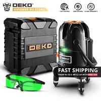 DEKO BMC Set 5 Lines 6 Points 360 Degrees Self Leveling Laser Level 505nm Green Vertical Horizontal Laser Lines Indoor/Outdoor