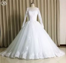 Custom Made 100% Real Photo Vestido de Noiva Elegant Long Sleeves Lace Beading Ball Gown Wedding Dresses 2019 Gowns SD08
