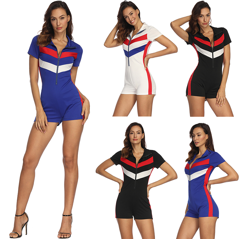 NEW Sexy Zipper Short Sleeve Stitching Color Shorts Bodysuit Playsuit Casual Black Blue White Women   Jumpsuit   Sexy Shorts Rompers