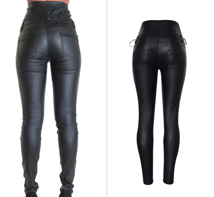 Stretch jeans stretch jeans for women\`s wear ultra high waist strap decorative coating leather stretch jeans PU large size (3)