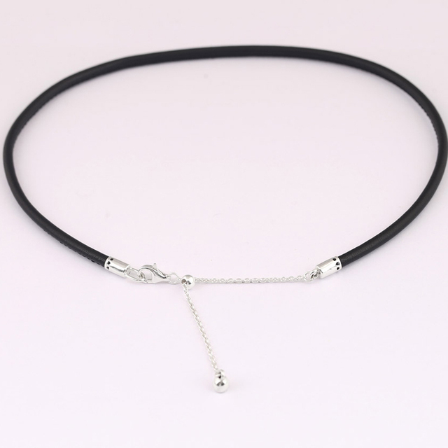 893549003 New Leather Choker With Adjustable Sliding Clasp Necklace For Women Wedding  Gift Pandora Jewelry 925 Sterling Silver Necklace