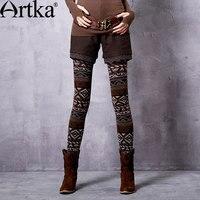 Artka Women S 2016 Spring New Exotic Ethnic Jacquard Leggings Warm Slim Fit All Match Geometric