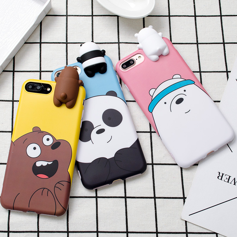 3D Cute Cartoon We Bare Bears Brothers Funny Toys Soft Phone Case For Iphone 5 5s 6 6s 7 8 Plus 10 X XR XS MAX Cover Cases Coque