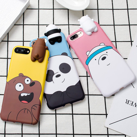 3D Cute Cartoon We Bare Bears brothers funny toys soft phone case for iphone 5 5s 6 6s 7 8 plus 10 X XR XS MAX cover cases coque Pakistan