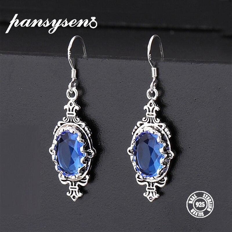PANSYSEN Original 2019 New Sea Blue Natural Topaz Drop Earrings Genunie 925 Silver Jewelry Earrings Women Engagement Party Gift