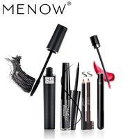 MENOW Brand 3pcs Make Up Set Lasting Liquid Eyeliner Gift Two Black Brown Pencil Waterproof Mascara