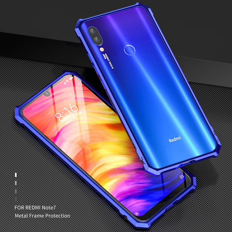 Aluminum Bumper Phone Case For Xiaomi Redmi Note 7 360 Full Cover Metal Frame Redmi Note 7 Case Shockproof Armor in Phone Bumpers from Cellphones Telecommunications