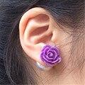 Розы цветы двойной серьги двухсторонний жемчужной ювелирные изделия серьги для женские мода бренда большой жемчужные много устанавливает элегантный