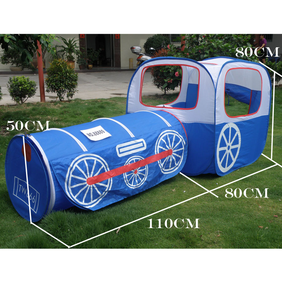 ФОТО Blue train kids play tent,kids playhouse,Pop up toy tent with PVC bag,Tunnel 2 in 1 Children Play House Outdoor And Indoor tent