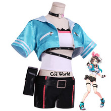 Kizuna AI A.I.Channel Youtuber Tube Tops Coat Shorts Uniform Outfit Cosplay Costumes