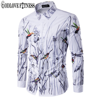 Spring New Fashion Flowers Birds Print Men Shirt Brand Clothing Lapel Camisa Masculina Long Sleeve Mens
