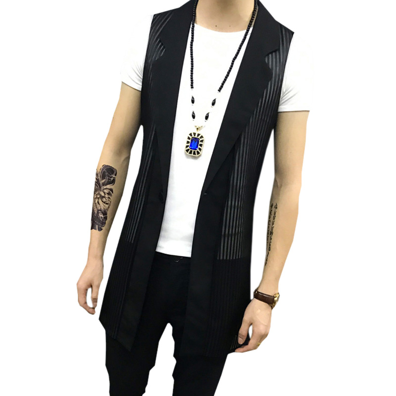 New Men's Summer Yarn Hollow Waistcoat Fashion Stylis Tops Shirts Strap Single-Button Long Vest Men Slim Sleeveless Jacket Coat