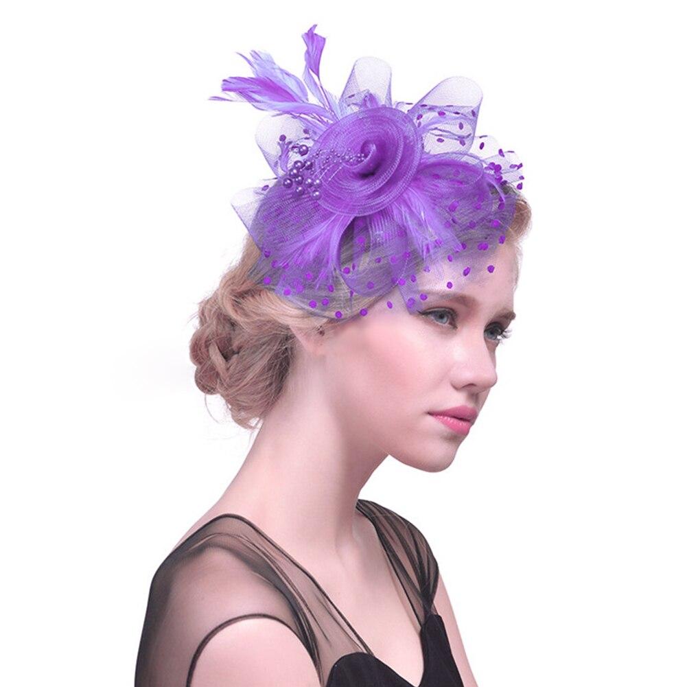 Women Net Feather Fascinator Hats Flower Cocktail Tea