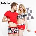 O novo casal de underwear shorts de algodão para homens e mulheres casais underwear da marca de moda xadrez para casais sexy underwear