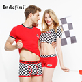 The new couple underwear cotton shorts for men and women fashion brand  plaid couples underwear for couples sexy underwear