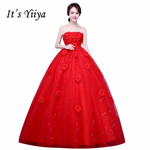 New 2017 Plus Size Flowers Strapless Pregnancy Wedding Dresses Red White Bride Frock Custom Made