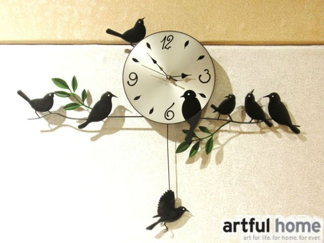 A020 New 2017wall Clock Safe Home Decoration Decor Single Clocks Painting Watch Morden Design Birds Unique