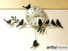 A020  new 2017wall clock safe home decoration  decor single clocks painting watch morden design  birds unique gift craft
