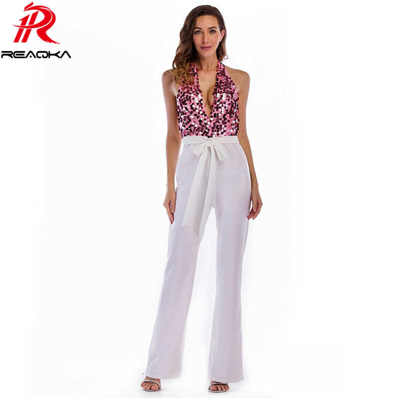 3cd056d3f8 Sexy rompers womens jumpsuit baby for women Sequins Patchwork Summer  Elegant Bandages Halter Club Party Bodysuit