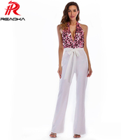 Sexy rompers womens jumpsuit baby for women Sequins Patchwork Summer Elegant Bandages Halter Club Party Bodysuit Overalls 2018
