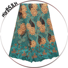 Women French African Lace Swiss Guipure 2018 Purple Latest Nigerian Lace Fabrics High Quality Africa Teal Green Lace Fabric(China)