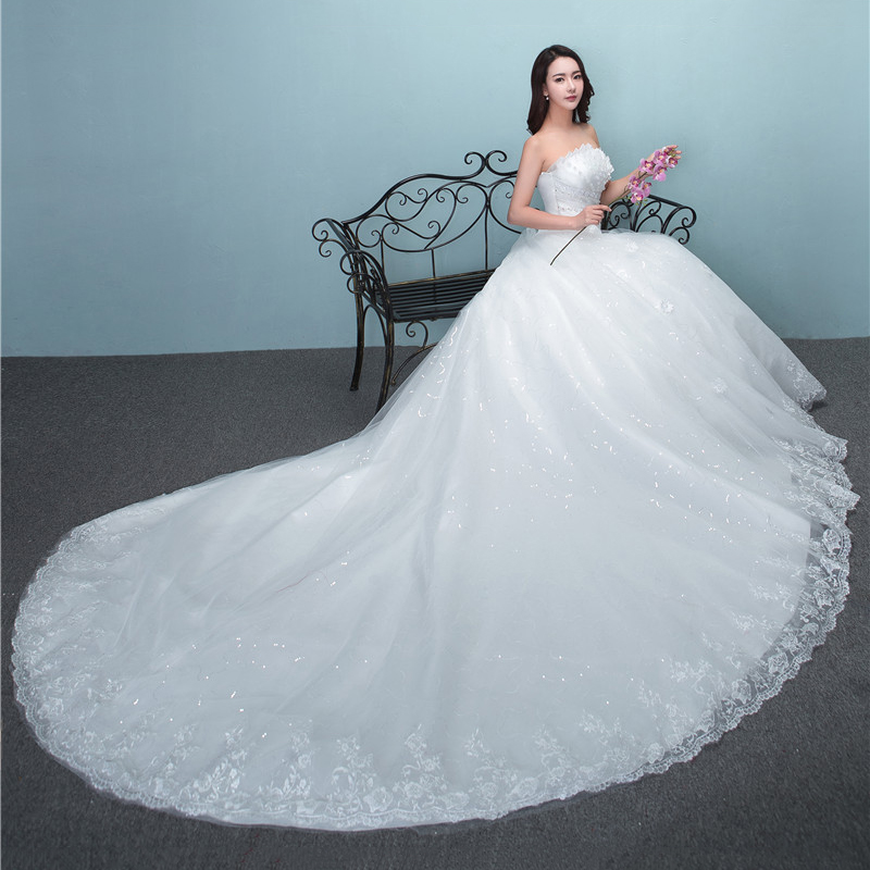 2019 New Luxury Diamond With Long Train Wedding Dress Sexy Strapless Applique Plus Size Customized Wedding Gown Robe De Mariee L