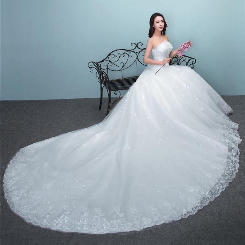 2019 New Luxury Diamond With Long Train Wedding Dress Sexy Strapless Applique Plus Size Customized Wedding Gown Robe De Mariee L