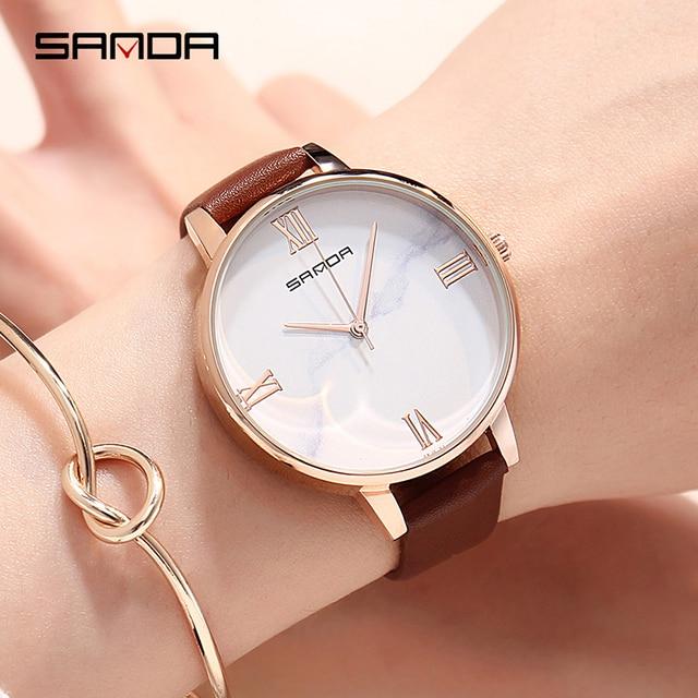 SANDA Small Fresh Soft Leather Women Watches Fashion Casual Women Brand Wristwat