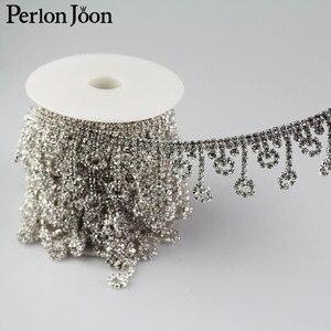 Image 5 - 5yards Crystal tassel Trimming Motif Rhinestone trim Chain for Wedding Dress Decoration  Appliques sew on Clothing Curtain