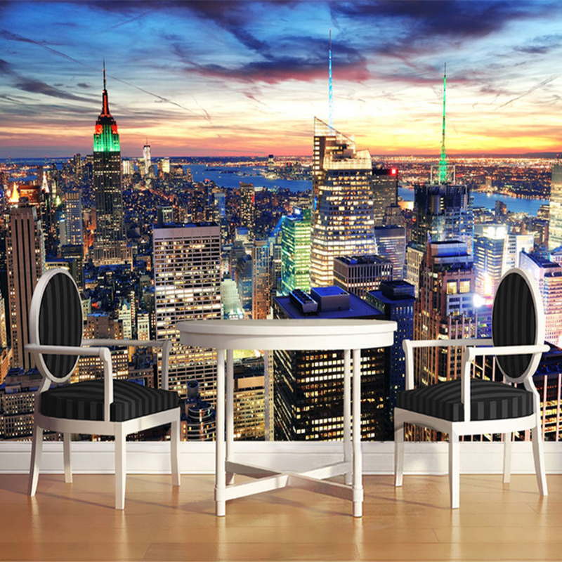 Custom 3d photo wallpaper mural city building night view for Custom photo mural
