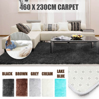 160x230cm Large Soft Shaggy Carpets Silk Carpet for Living Room Faux Fur Area Rug Hotel Mats Bedroom Decor Anti slip Floor Mat