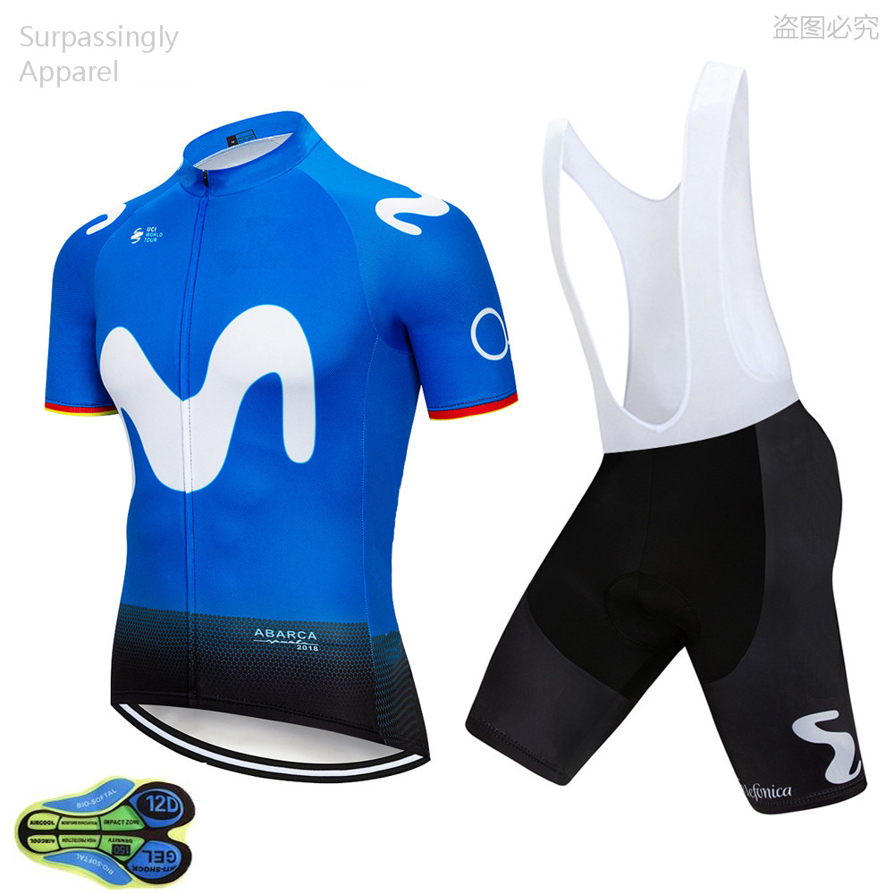 UCI Team 2019 Blue M Cycling Jersey Bike Shorts Set MTB Mens Summer Ropa Ciclismo Cycling Wear Pro Bicycling Maillot Culotte 12D
