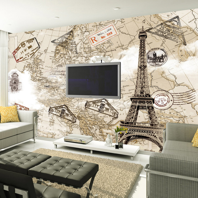 Customized 3d Photo Wallpaper Retro Nostalgia Old World Map Wall