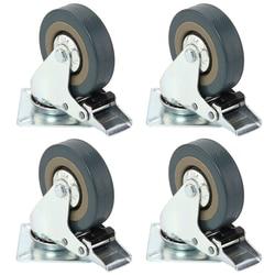 Set di Heavy Duty 50x17 millimetri di Gomma Girevole di Ricino Ruote Trolley Caster Freno 40 KGModel: 4 con freno