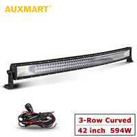 AUXMART 594W Auto 42 LED Light Bar 12v 24v Triple Row Combo Beam Curved Offroad Driving Led Bar Light for SUV Truck Pickup 4x4
